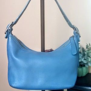 Vintage Coach Blue Leather Handbag